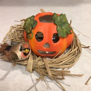 Pumpkin Votive Holder sitting in Nest